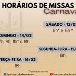 Horários de Missas – Carnaval